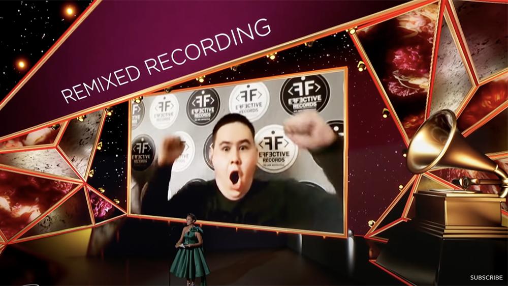 Imanbek Zeykenov jublar när han fick veta att han vunnit en Grammy.