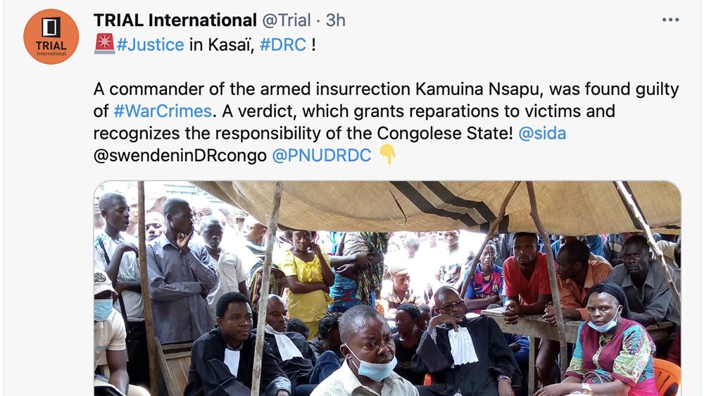 en bild från Trial International s Twitterkoton