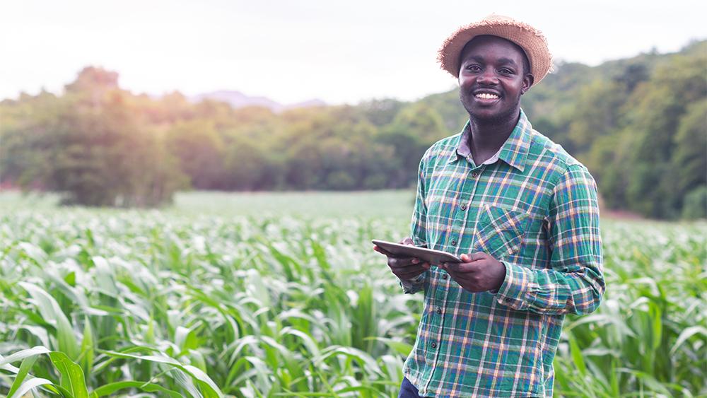 Bonde i Afrika som står ipå ett fält med en läsplatta i handen. Tenik, människa och miljö i samspel
