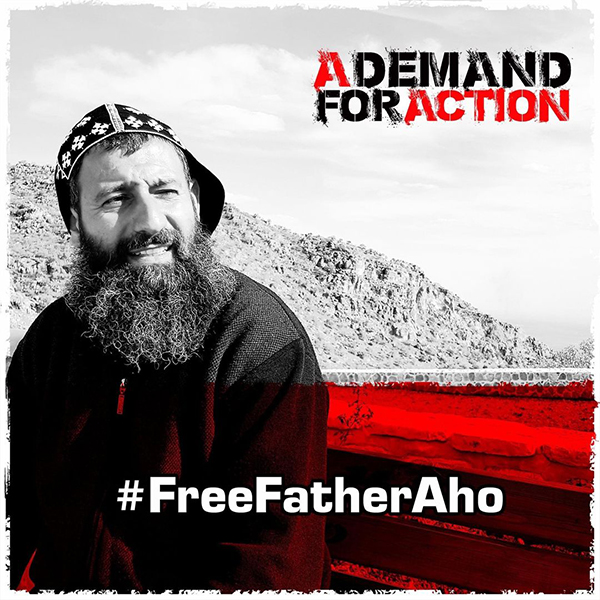 Bild på munken Fader Aho för kampanjen #FreeFatherAho #ADemandForAction #ADFA
