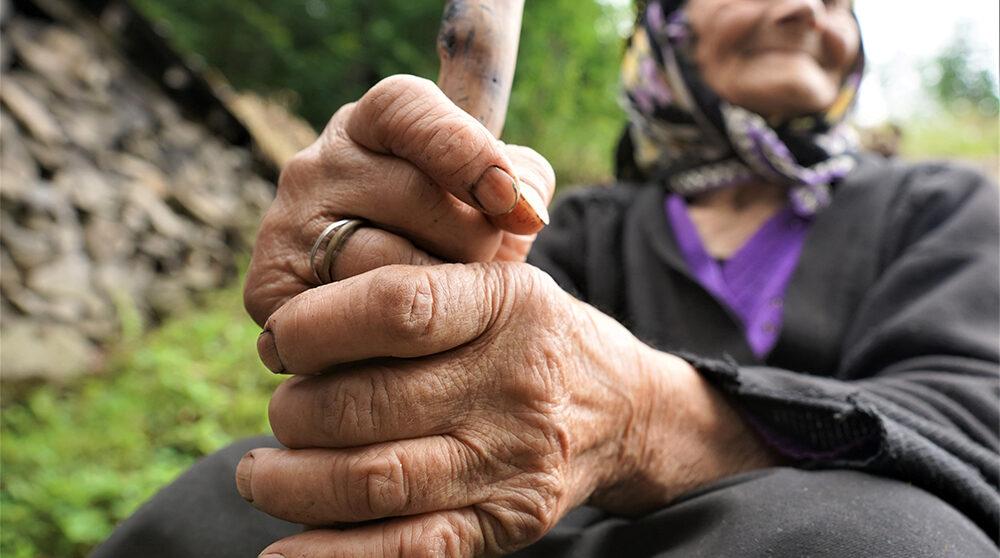 En äldre jordbrukarkvinans händer i närbild.